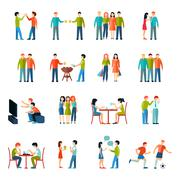 Friends Icons Flat Set Piirros