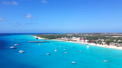 Ocean view of Grand Turk shipping port over calm water Stock Footage