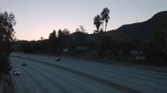 Time Lapse Morning Commute Los Angeles, Sunrise 134 Highway Stock Footage