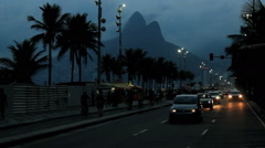 Avenida Atlantica (Atlantic avenue) Ipanema, Rio de Janeiro, Brazil. Traffic Stock Footage