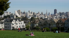 Painted ladies and Alamo Square in San Francisco Stock Footage