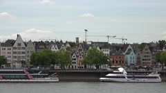 ULTRA HD 4K Koln city panorama famous architecture icon symbol ferry boat Rhine  Stock Footage