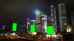 Hong Kong Night Cityscape And Green Screen Banner Stock Footage