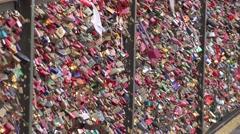 ULTRA HD 4K Famous bridge locks love couple symbol Koln concept padlocks hang  Stock Footage