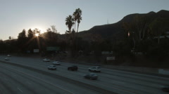 Los Angeles morning highway commute, sunrise Burbank Stock Footage