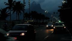 Sunset at the brazilian avenue, Rio de Janeiro, Brazil. Traffic Stock Footage