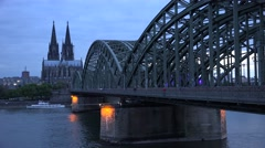 ULTRA HD 4K Famous Hohenzollern bridge Koln landmark twilight church tower icon  Stock Footage