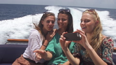 Women Friends Served Chilled Drinks On Boat - stock footage