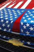 Chevrolet hood painted with custom stars and stripes paint job - stock photo