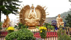 Thousand hands Buddha statue in Ten Thousand Buddhas Monastery Stock Footage