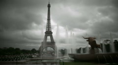 Eiffel tower in Paris in vintage look Stock Footage