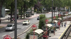 ULTRA HD 4K Aerial view commuter people tramway station Koln suburban district  Stock Footage