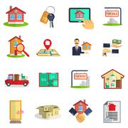 Real estate icons set Stock Illustration
