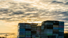 Stack of beehive boxes in bee farm Stock Footage