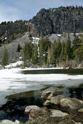 melting ice at mammoth lakes - stock photo