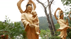 Baby Buddha statue in the Ten Thousand Buddhas Monastery Stock Footage