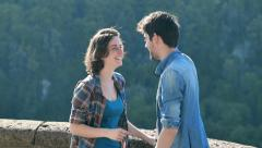 Young people in love: woman embrace her boyfriend Stock Footage