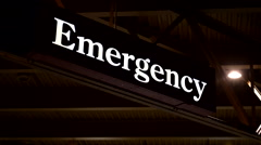 Hospital emergency doors for doctors and nurses at night 4 Stock Footage