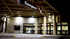 Hospital emergency doors for doctors and nurses at night 2 Stock Footage