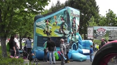 Inflatable Bounce House At A Street Fair - stock footage