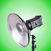Studio light stand isolated on the green Stock Photos