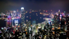 Hongkong City Light And Bokeh Blur Background Stock Footage