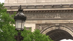 Street lamp in front of the Arc de Triomphe - stock footage