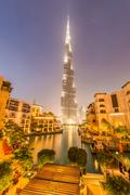 Stock Photo of Dubai Burj Khalifa building at night