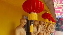 Chinese Silk Lanterns in row under roof, Buddhist monastery decoration Stock Footage
