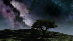 Time lapse purple night sky stars over the hill with tree - stock footage