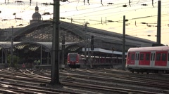 ULTRA HD 4K Koln main train station local transport commuter arrive depart icon  Stock Footage