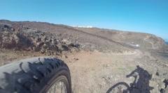 Cyclist on the coast - stock footage