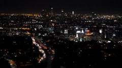 Downtown LA at Night and Hollywood Freeway US 101 Stock Footage