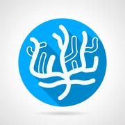 Coral flat blue round vector icon - stock illustration