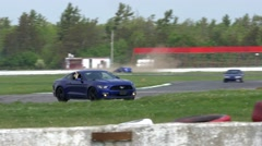 Blue mustang drift through Corners - ShannonVille RaceTrack May 19th Stock Footage