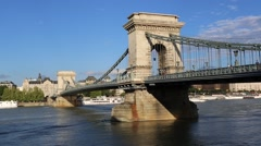 View on the Chainbridge in Budapest Stock Footage