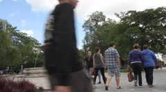 People visiting the Deak Ter square in Budapest Stock Footage