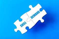Connected puzzle pieces with words SKILL and DEMAND  - stock illustration