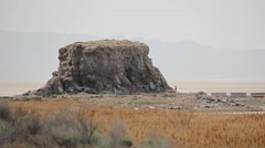 Rock formation on the Salt Lake Beach Stock Footage