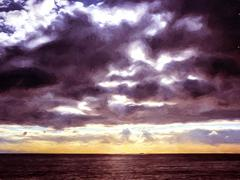 Sky with clouds over black sea Stock Illustration