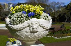 Blue yellow and white flowers arranged in a decorative white stone urn, Alber Stock Photos