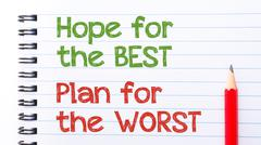 Text written on notebook page Hope for the best, plan for the worst  - stock photo