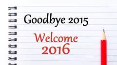 Text written on notebook page Goodbye 2015 Welcome 2016  Stock Photos