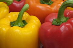 Red orange and yellow peppers capsicum - stock photo