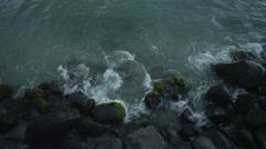 Sea waves splashing on rocks Stock Footage