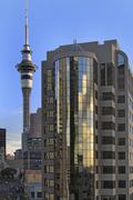 Auckland skytower and downtown office towers Auckland city New Zealand Stock Photos