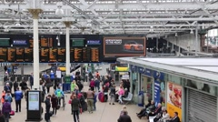 Commuters at Waverley Station Edinburgh Stock Footage