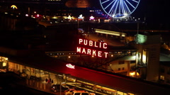 Public Market Night Seattle Stock Footage