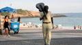 Brazilian composer Tom Jobim's statue. Ipanema, Rio de Janeiro, Brazil Footage