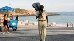 Stock Video Footage of Brazilian composer Tom Jobim's statue. Ipanema, Rio de Janeiro, Brazil